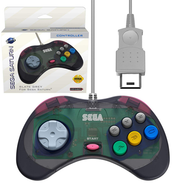 Retro-Bit Official Sega Saturn Controller Pad - Slate Grey (Saturn)