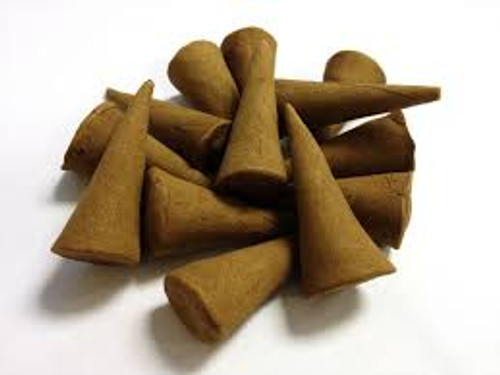 Frankincense & Myrrh Hand Dipped Incense Cones ( cone 000027) -  Hand Dipped Cone Incense crafted to have a rich texture and give a awesome scent. Altering the environment through scent encourages relaxation, allowing space for the creative mind to amplify. Our fragrance cones are sold in quantities of 10 per pack.