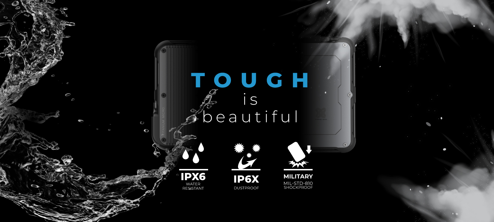 Titanium micro portable external ssd drive rugged tough water dust shock drop proof