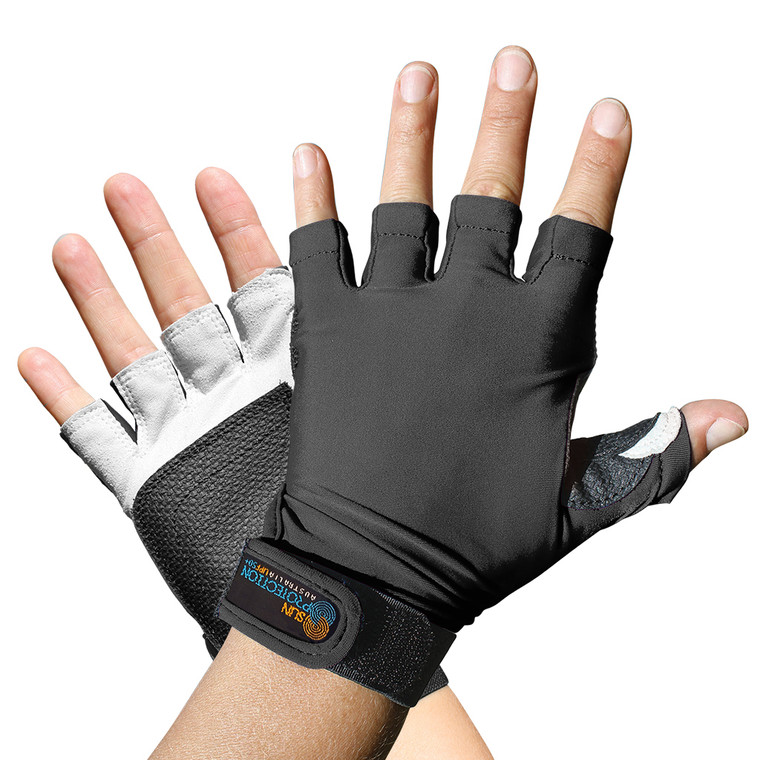 Sports Glove Black UPF50+ Sun Protection