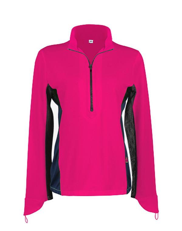 Ladies Cycling Shirt Hot Pink UPF50+ Sun Protection