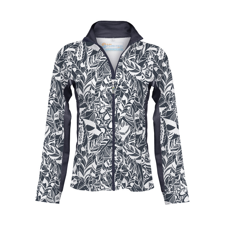 Ladies Zipped Jacket Steel Print  UPF50+ Sun Protection