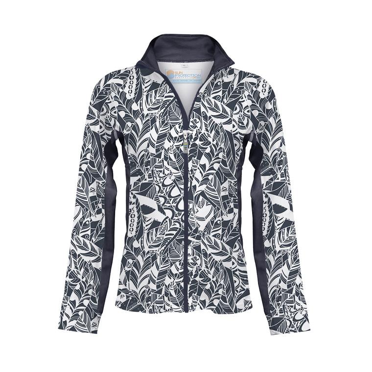 Ladies Zipped Jacket Steel Print  UPF50+ Sun Protection