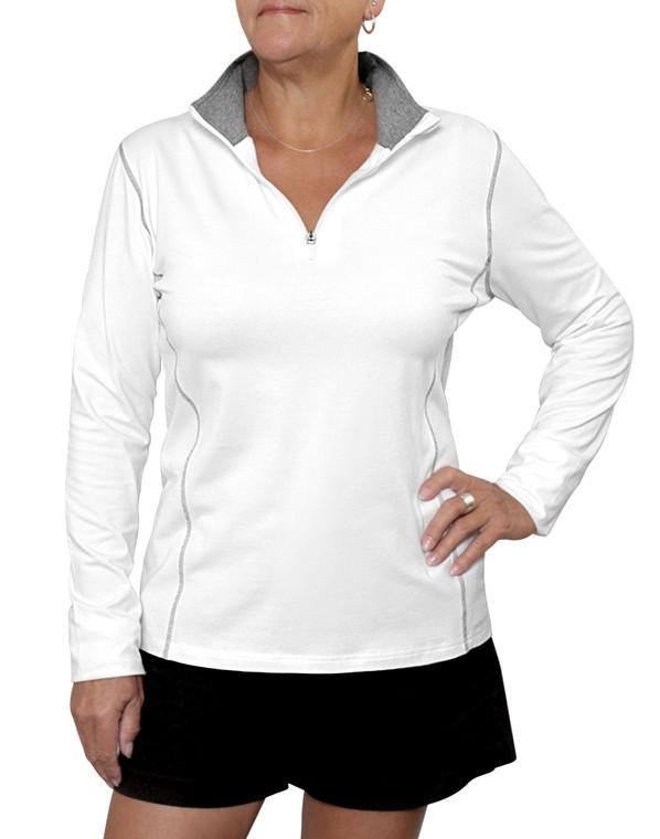 Ladies  Zipped Top UPF50+ Bamboo Organic Cotton