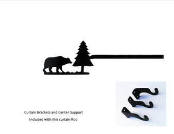 Bear/pine Curtain Rod - Med   (hardware Is Included)