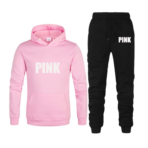 2 Piece Tracksuit Set Women Pink Printed Hoodie Sweatshirt Female Sport Pullover Suits Women's Sportwear Suit