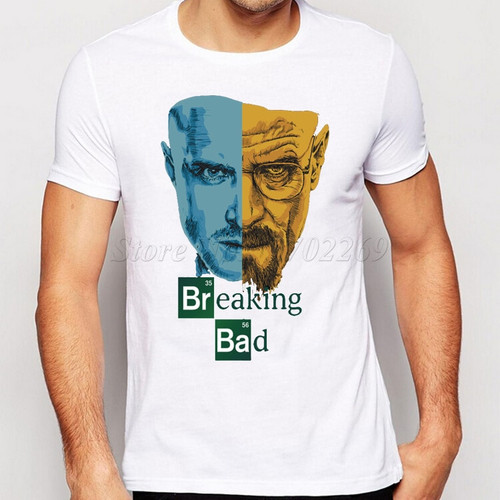 Promotion Breaking Bad Men T Shirts Retro T-Shirt TV Mr White Heisenberg Jessie Pinkman Funny Print Tees Short Sleeve Tops