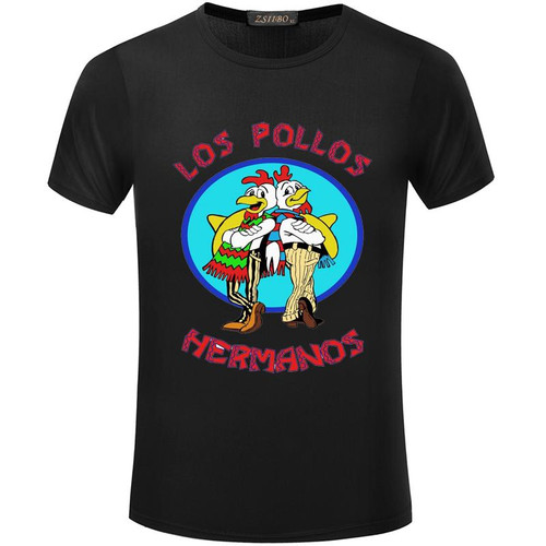 22 lot 5 tee per lot at 7.69 Funny LOS POLLOS Chicken New Print tshirt Summer Breaking Bad Slim T-shirt Fashion Casual O-neck Short sleeve t shirt men S5MC39