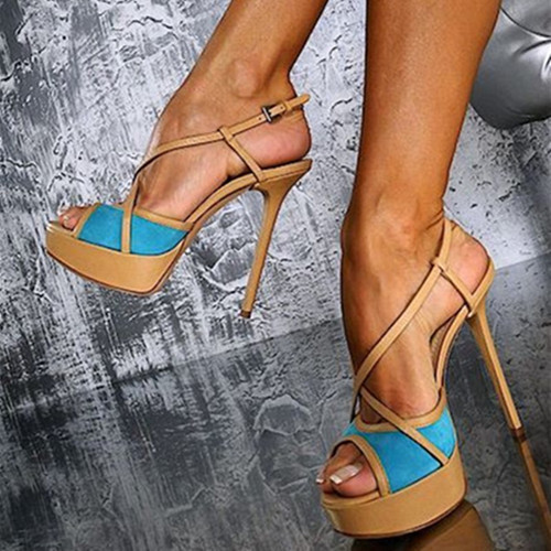 SHOFOO shoes.Sweet fashion women's shoes, double color leather, about14.5 cm high heel sandals,women's sandals. SIZE:34-45