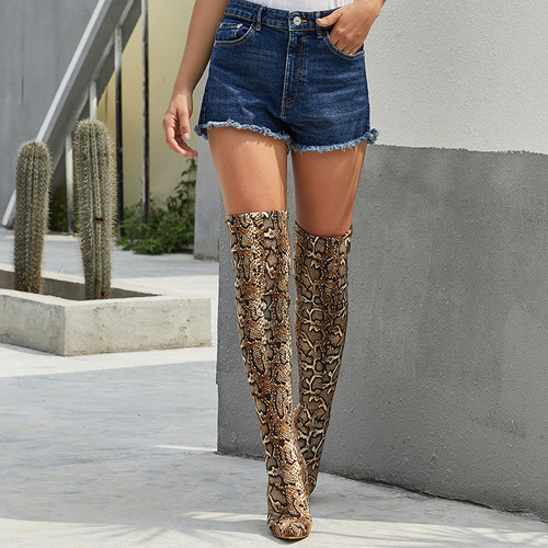 Women Long Boots  New Sexy Nightclub Leopard Pattern Over The Knee Long Tube Pointed High-heeled Large Size Women's Boots