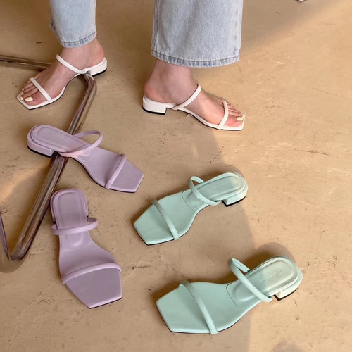 2020 New Summer Slippers Square Low Heel Slides Female Peep Toe Sandal Vacation Outdoor Shoes Narrow Band Flip Flops Shoes