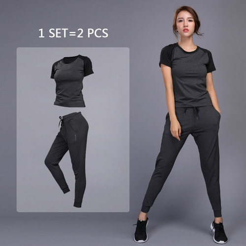 New Women's Sportswear Yoga Sets Jogging Clothes Gym Workout Fitness Training Yoga Sports T-Shirts+Pants Running Clothing Suit