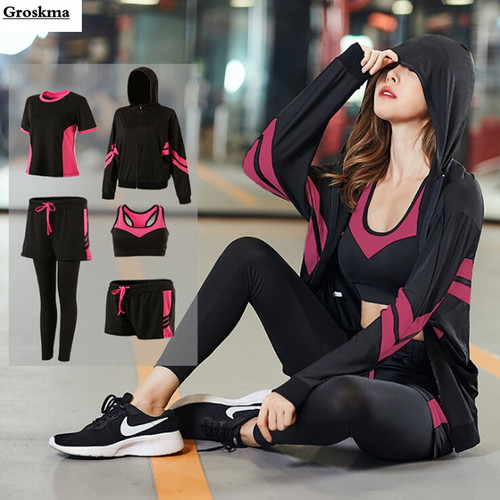 Sports running women loose 5 piece set quick dry coats+bra+tshirt+shorts+pants fitness gym outdoor suit clothing plus size 4XL
