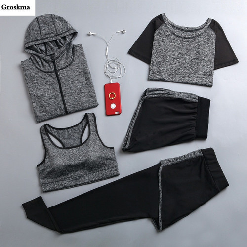 5 Pieces set women hooded coats+t shirt+bra+shorts+pants quick dry sportswear clothing outdoor running fitness gym tracksuits