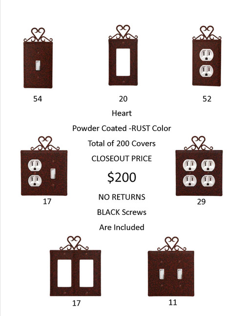 Heart Closeout - Rust Color Only. A Total Of 200 Electrical Covers For Only $1 Each! Hundreds Of Dollars Worth Of Savings !