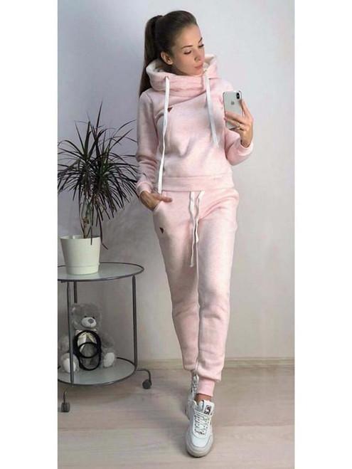 Fit Casual Wear Women Winter Autumn Sports Suits Fleece Hoodies Pants 2pcs Clothing Sets Slim