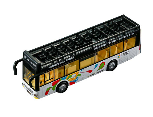 City Bus Model With Flash Lights Music,back Pull Bus Toy, A10
