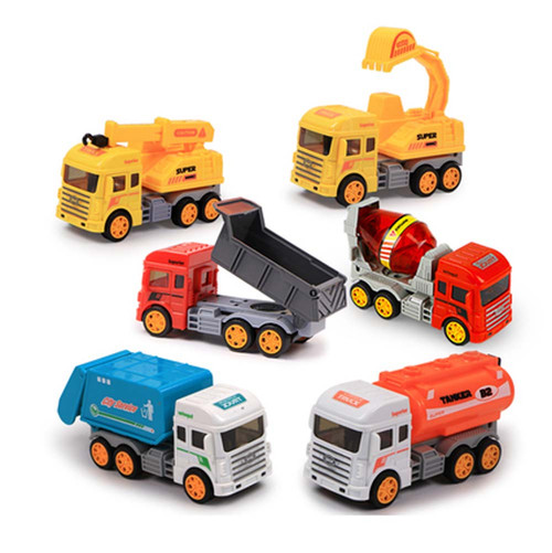 Set Of Six Fall-resistant Toy Truck Crane Children's Toys Cars