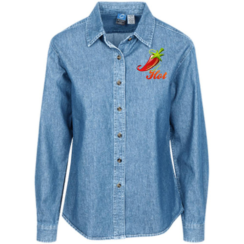 chili-1357924 LSP10 Women's LS Denim Shirt