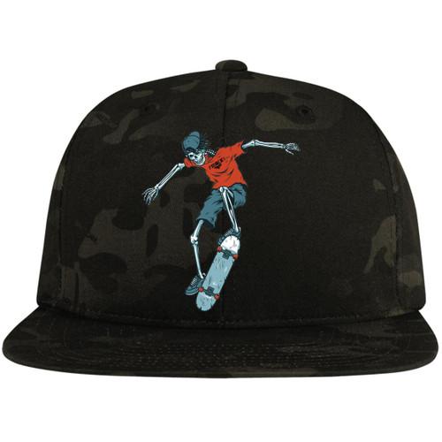 vintage-colorful-skeleton-skater-vector-id9663139647676 STC19 Flat Bill High-Profile Snapback Hat