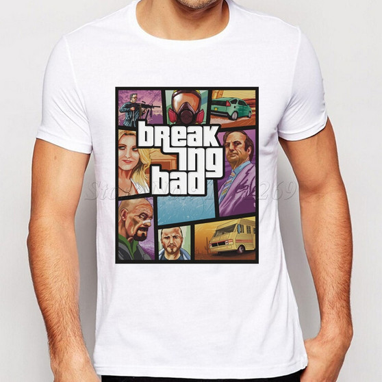 Hot Sales Breaking Bad Characters Printing Men T-Shirt Short Sleeves Male Basic Tops Famous Boy Cool Tee Shirts