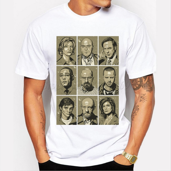 Popular men t shirt breaking bad characters retro printed male fashion tee short sleeve casual tops hipster funny cool shirts