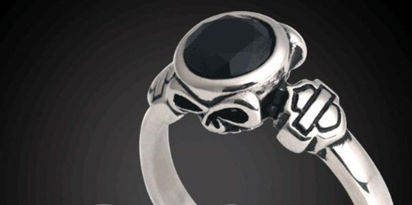 5pcs Free Shipping Size 5-10 Unisex Crystal Motorbiker Ring 316L Stainless Steel Fashion Jewelry Skull Crystal Biker Ring