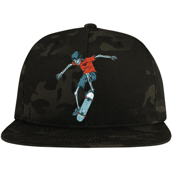 vintage-colorful-skeleton-skater-vector-id9663139647676 STC19 Flat Bill High-Profile Snapback Hat