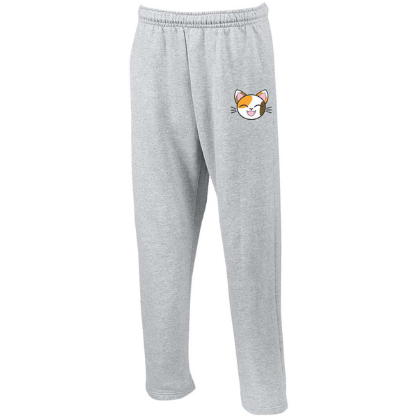 calico-cat-1732370 G123 Open Bottom Sweatpants with Pockets