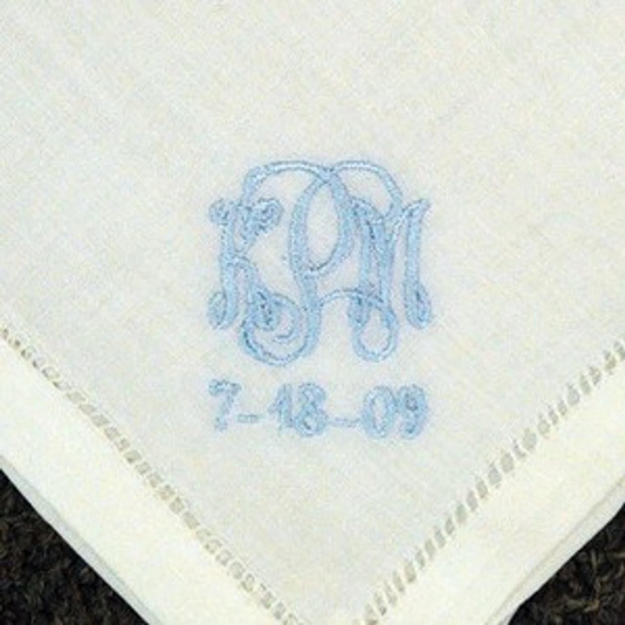 4fffbac8c4 Something Blue Monogrammed Linen Handkerchief