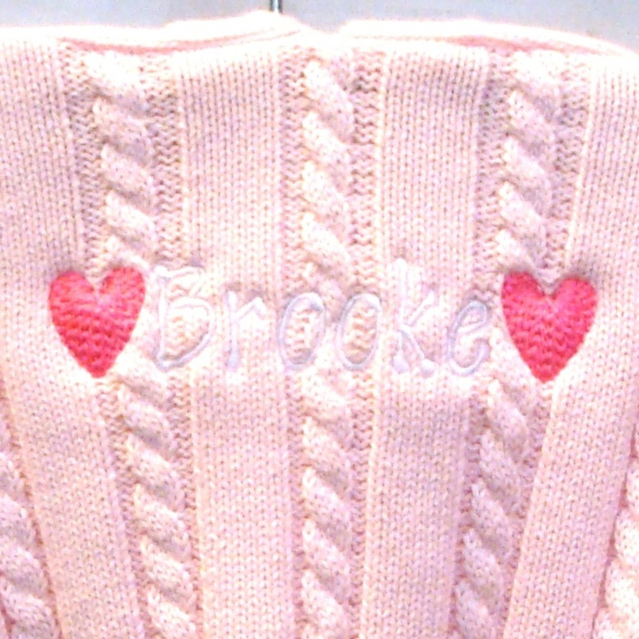 Personalised Embroidered Pink Heart Shawl Blanket Gift with Name Embroidery