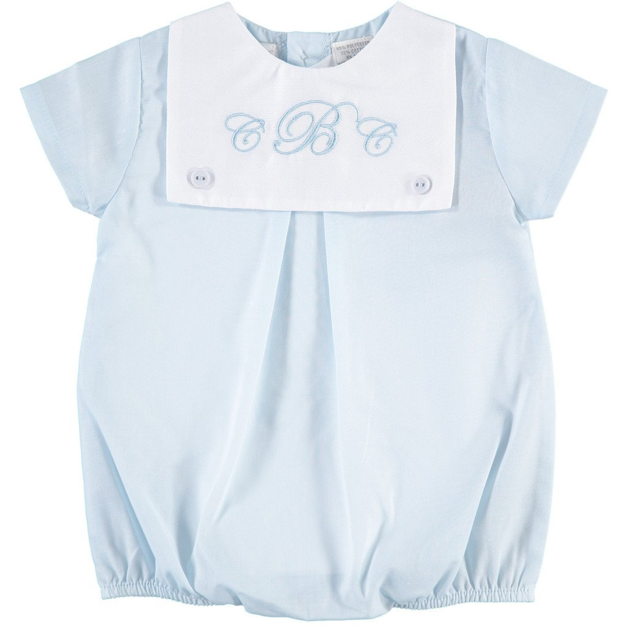 Monogrammed Blue Creeper With Square Collar The Initial Design