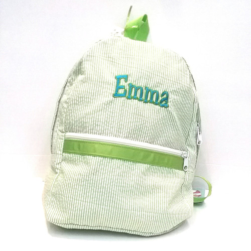 Lime Seersucker Backpack Personalized with Name
