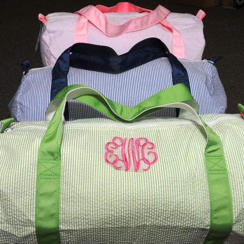 Monogrammed Seersucker Duffel Bag