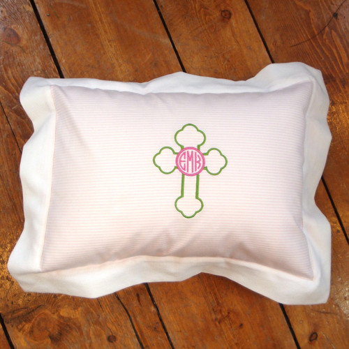 Monogrammed Cross Pillow