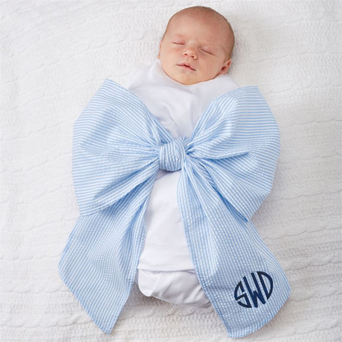 Personalized Bow Swaddle Blanket in Blue