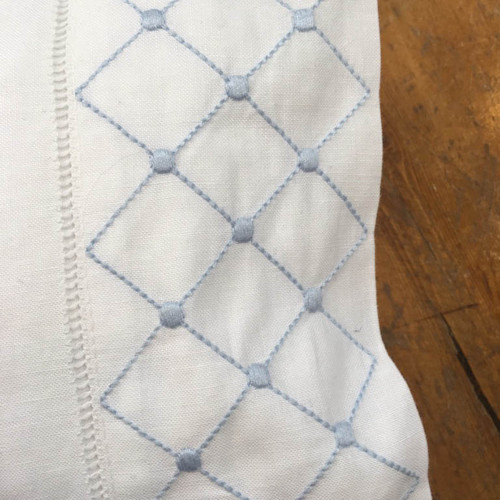 Blue Diamond and Dots Linen Baby Pillow