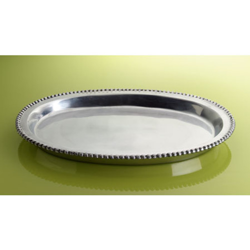 Silver Small Beaded Deep Oval Tray