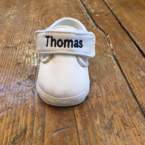 Personalized Embroidery on White Baby Shoe