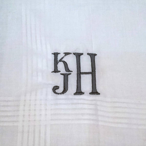 Men's Handkerchief Stacked Monogram Style
