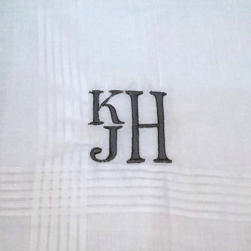 Men's Handkerchief Stacked Monogram Style