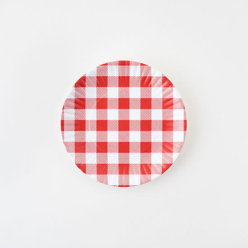 "Red Gingham ""Paper"" Plate, Set of 4, Melamine, 9"""