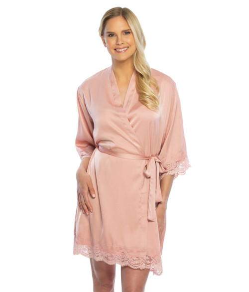 Silky satin lace trim robe with monogram