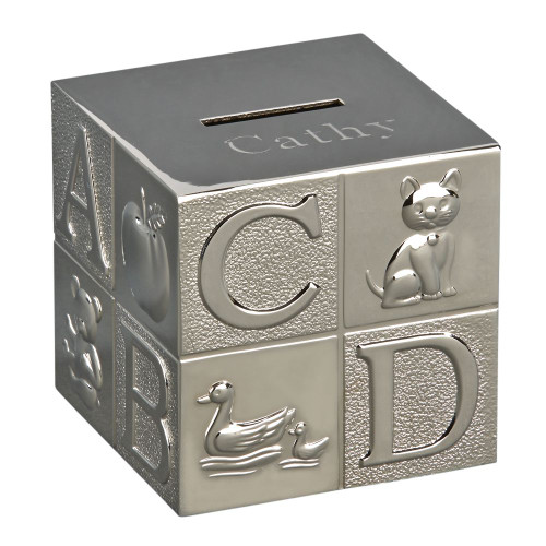 Large baby block bank with polished finish and engraving