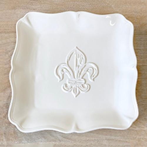 Fleur de Lis Embossed Square White Platter