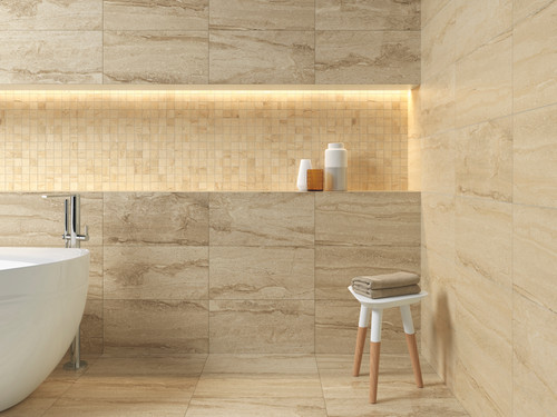Travertine look porcelain, noce colour, wall and floor tile.