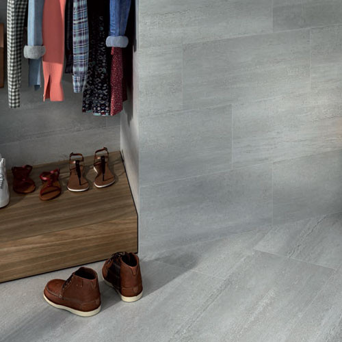 Stone inspired grey porcelain wall and floor tiles suitable for living spaces as well as bathroom and kitchen.
