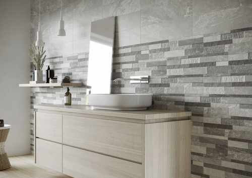 Cosmos porcelain matt finish wall and floor tile. Plain grey tile has anti-slip properties.