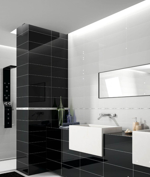 Smooth glossy porcelain wall and floor tiles. Insert a glossy touch to your bathroom.