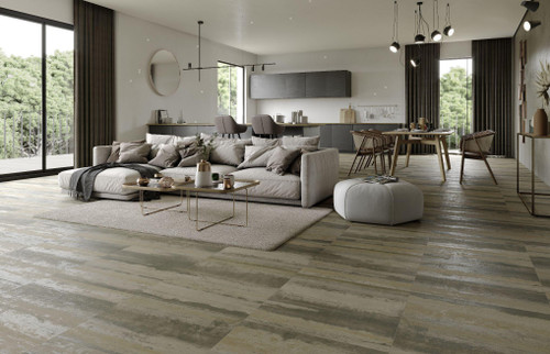 Glamorous  industrialised look porcelain wall and floor tile suitable for commercial use as well as in a bathroom, kitchen and any living space in your home.